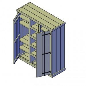 Een bouwtekening van een steigerhouten kast
